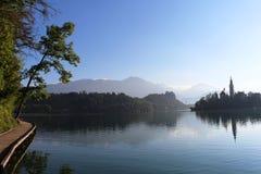Afgetapte het meer, tapte Kasteel, Kerk op Eiland Slovenië af Royalty-vrije Stock Fotografie
