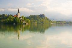 Afgetapte meer en bedevaartkerk met het landschapsachtergrond van de de lenteberg Royalty-vrije Stock Foto