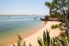 Afgezonderd strand in Portugal stock afbeeldingen