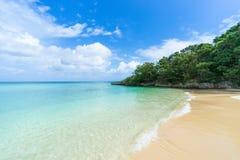 Afgezonderd tropisch paradijsstrand met duidelijk blauw lagunewater, Ishigaki-Eiland, Okinawa, Japan stock afbeelding