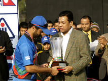 Afghan captain receiving the trophy Royalty Free Stock Image