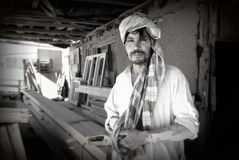 Afghan carpenter. An Afghan carpenter in the town of Pol-e Alam, Logar Province, Afghanistan Stock Image