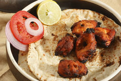 Afghan Chicken Kebab. Is a chicken dish grilled on skewer and flavored with spices, popular in North-Western parts of India, Pakisthan and Afghanistan Royalty Free Stock Image