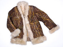 Afghan coat hippy embroidered sheepskin Royalty Free Stock Images