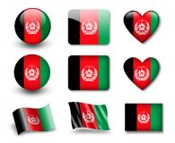 The Afghan flag. Set of icons and flags. glossy and matte on a white background Stock Images