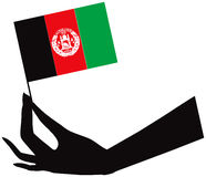 Afghan flag in hand Stock Images