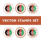 Afghan flag rubber stamps set. Royalty Free Stock Photos