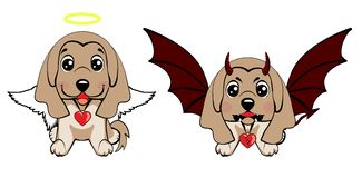 Devil Dog with horns and bat wings and happy dog angel. Afghan hound breed. Devil Dog with horns and bat wings and happy dog angel royalty free illustration
