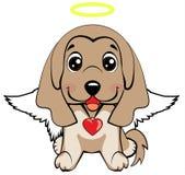 Illustration of funny puppy dog media icon smiley, happy dog angel. Afghan hound breed. illustration of funny puppy dog media icon smiley, happy dog angel royalty free illustration