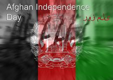 Afghan Independence Day Afghanistan, Soldier on national flag Royalty Free Stock Photography