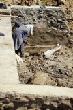 Afghan Man Helps Build Irrigation Canal Royalty Free Stock Images