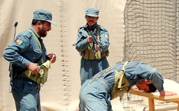 Afghan National Police training stock image