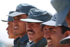 Afghan National Police training. Members of Afghan National Police (ANP) training in Logar Province, Afghanistan, June 2009 Stock Photos