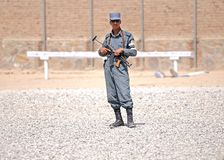 Afghan policemen's training 5. You can see one Afghan policeman. I made this picture on a training camp in Eastern-Afghanistan. This camp led by US Stock Photography