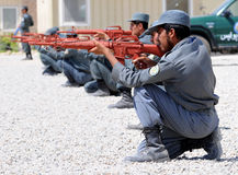 Afghan policemen's training. You can see some Afghan policemen. I made this picture on a training camp in Eastern-Afghanistan. This camp led by US Royalty Free Stock Photo