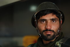 Afghan soldier. A member of Afghan National Army (ANA) at Forward Operational Base in Logar Province, Afghanistan, 2009 Stock Photo