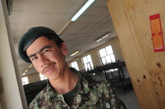 Afghan soldier. Serviceman from the 1st Kandak (Batalion) of the Afghan National Army (ANA) in the Logar Province, Afghanistan, on the Forward Operation Base in Royalty Free Stock Photos