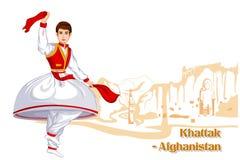 Afghani Man performing Khattak dance of Afghanistan Royalty Free Stock Photos