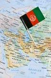 Afghanistan översikt och flaggastift Royaltyfria Bilder