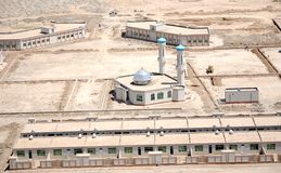 Afghanistan - aerial view. New settlement with a mosque from the air in Afghanistan stock photo