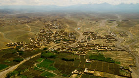 Afghanistan from the air. Aerial view of landscape in eastern Afghanistan, south of Kabul, close to border with Pakistan Stock Photo