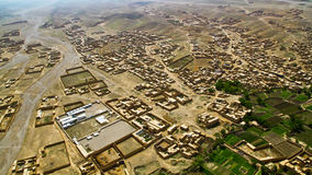 Afghanistan from the air. Aerial view of landscape in eastern Afghanistan, south of Kabul, close to border with Pakistan Royalty Free Stock Photography