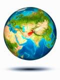 Afghanistan auf Erde mit weißem Hintergrund Stockbilder