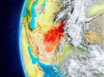 Afghanistan auf Erde vom Raum Lizenzfreie Stockfotografie