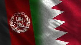 Afghanistan and Bahrain Realistic Half Flags Together stock illustration