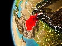 Afghanistan da spazio nella sera Fotografia Stock Libera da Diritti