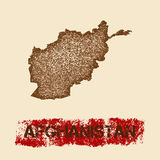 Afghanistan distressed map. Grunge patriotic poster with textured country ink stamp and roller paint mark, vector illustration Royalty Free Stock Image