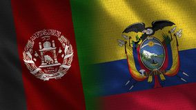 Afghanistan and Ecuador Realistic Half Flags Together royalty free stock photography