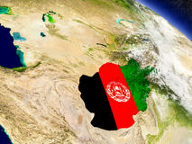 Afghanistan with embedded flag on Earth Stock Images