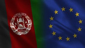 Afghanistan and European Union Realistic Half Flags Together. Fabric Texture - High Quality vector illustration