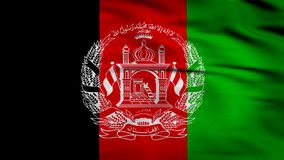 Afghanistan Flag 3d render 4k. Afghanistan flag composed by a white graph over a three lines background in black, red and green, 3d render animation of a flag in stock illustration
