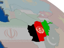 Afghanistan with flag Royalty Free Stock Images