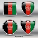 Afghanistan Flag in 4 shapes collection with clipping path stock images