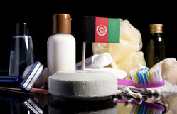 Afghanistan flag in the soap with all the products for thAfghanistan flag in the soap with all the products for the hygienee peopl. Afghanistan flag in the soap Stock Image