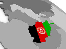 Afghanistan on globe with flag Royalty Free Stock Image