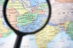 Afghanistan on a map Royalty Free Stock Image