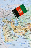 Flag of Afghanistan on map royalty free stock images