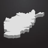 Afghanistan map in gray on a black background 3d Royalty Free Stock Images