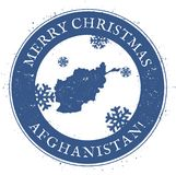 Afghanistan map. Vintage Merry Christmas. Royalty Free Stock Photos