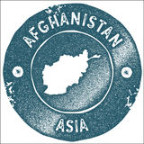Afghanistan map vintage stamp. Stock Photos