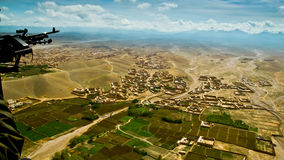 Afghanistan from the military helicopter. Aerial view of landscape in eastern Afghanistan, south of Kabul, close to border with Pakistan. Taken from military Royalty Free Stock Photography