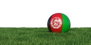 Afghanistan new flag soccer ball lying in grass world cup 2018. Isolated on white background. 3D Rendering, Illustration Stock Photo