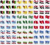 Afghanistan, Niue, Syria, Fiji, Norfolk Island, Kyrgyzstan, Mari El, Bulgaria, Aruba. Big set of 81 flags. Royalty Free Stock Photos