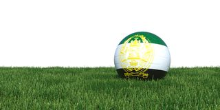 Afghanistan old flag soccer ball lying in grass world cup 2018. Isolated on white background. 3D Rendering, Illustration Royalty Free Stock Images