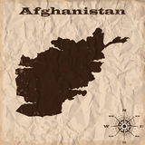 Afghanistan old map with grunge and crumpled paper. Vector illustration Stock Photos