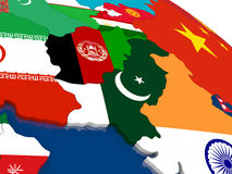 Afghanistan and Pakistan on 3D map with flags Royalty Free Stock Photos